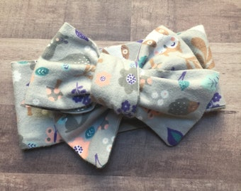 Wrap Headband - Hair Wrap - Headwrap - One Size - Newborn-Toddler-Child-Adult - Woodland Creatures - Girly