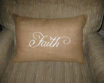 Faith BURLAP Pillow cover - Shabby Chic Rustic Holiday Home Decorations -Vintage inspired