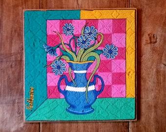 Original Neikame Huichol Textile Folk Art, Neikame Art, Huichol Folk Art, Mexican Folk Art
