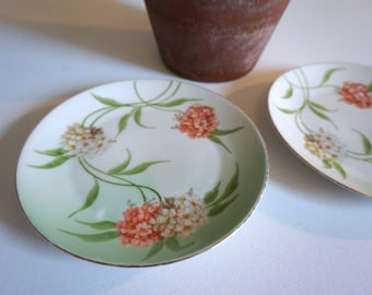 """Pair of Vintage Hand Painted Hydrangea Dessert or Bread and Butter Plates 6"""" Z S & Co Bavaria - Floyd Jones Vintage"""
