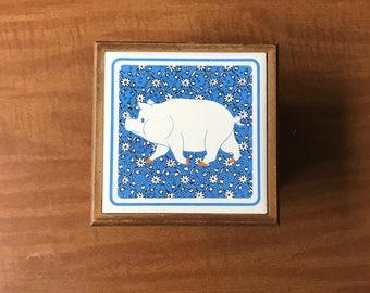 Vintage Farm Animal Pig Coaster Holder with 6 Beverage Coasters