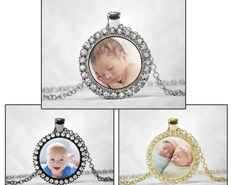 Custom Photo Pendant with Crystal Rhinestones Baby Newborn Family Pets Personalized Necklace