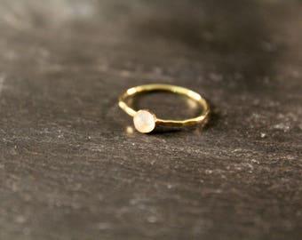 Moonstone Gemstone Ring - ONE RING (Rose Gold Sterling Silver June Birthstone Gemstone Stacking Ring Gifts Under 50)