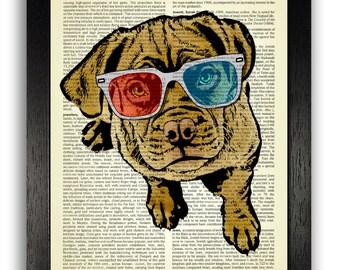 DOG ART Cool Dog in 3D Glasses Print on Dictionary Page, Dog Wall Decor, Funny Dog Poster, Dog Illustration, Gift for Dog Owner, Dog Artwork