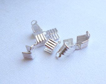 Sterling Silver Cord Ends or End Caps-- 4 x 8mm -- 4 pieces