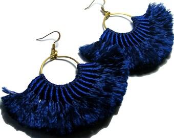 Fan Tassel Earrings, Boho Earrings, Navy Blue Tassel Earrings, Tassel Earrings, Fan Earrings, Tassel Jewelry, Solid Blue Earrings, Boho Chic