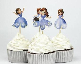 READY TO SHIP Sophia The First Princess Toppers, Picks, Cake Toppers, Cake Topper Pick, Cupcake Picks, Birthday, Baby