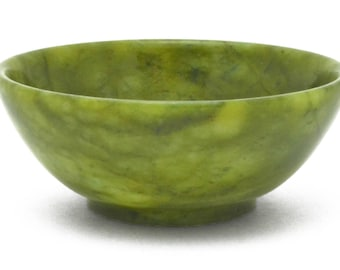 Serpentine Green Ritual Offering Bowl Hand Carved Natural Gemstone