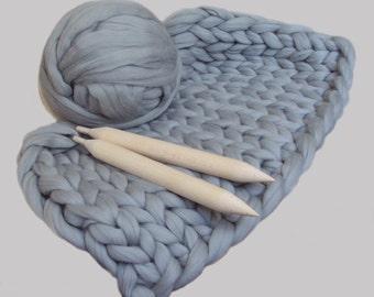DIY Knit Kit for Giant Chunky Knit Blanket. Chunky DIY Knit Throw. Giant Knitting Needles & Merino Wool. Merino wool sale. Knit blanket