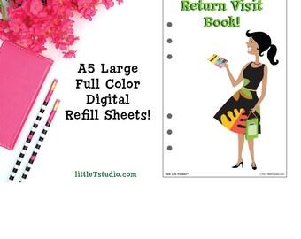 Best Life Return Visit Book Refill Sheets! - A5 Kikki K Large, Filofax -PDF Download!