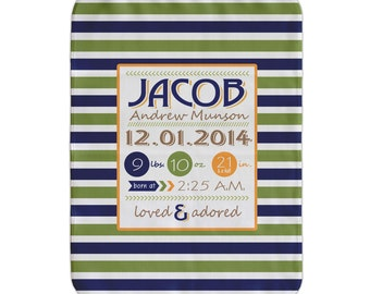 Personalized Receiving Blanket, Navy, Lime Striped, Personalized Baby Boy Blanket, Custom Baby Blanket, Baby Birth Stats Blanket