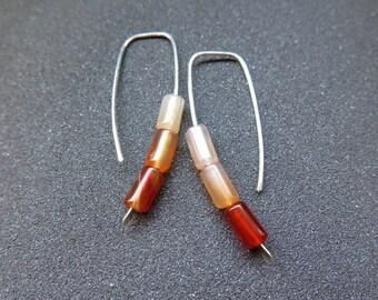 carnelian earrings. orange stone jewelry. ombre jewellery. made in Canada