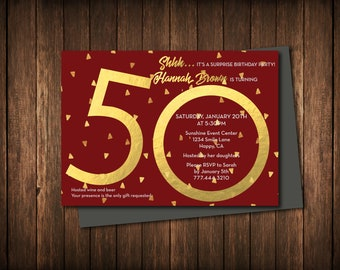 50th Birthday Invitation: Customizable, Personalized, DIY Printout
