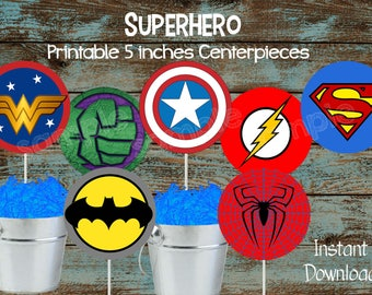 Superhero Centerpieces, Superhero Cake Topper, Superhero Printable Decorations, Superhero Party Supplies, Superhero Birthday Party
