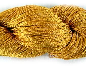 Viscose Silk Yarn (rayon yarn): color gold (630), knitting and crochet lace yarn, eco friendly fibers. Yarn Ajur Eq