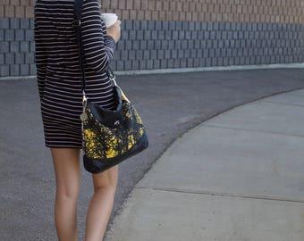 Large Crossbody Bag - Tree Print - Day Bag - Fabric Hand Bag - Black Faux Leather Bag - Tree Bag - Casual Handbag - Work Bag - Day Bag
