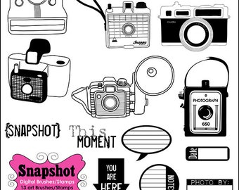 Retro Cameras Clip-art Digital Stamps, Photoshop Brushes, PNG & abr, Digital Scrapbooking, Card-making, Digital Graphics, INSTANT DOWNLOAD