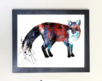 Fox Spirit Animal Art Print Watercolor 8x10