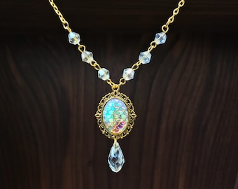 Golden Mermaid Necklace-Crystals-Mermaid Jewelry-Mermaid tears-witch-mermaid stuff-mermaid scales-