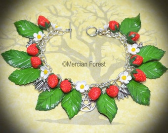 Strawberry Fields Bracelet - Handmade Pagan, Wiccan Jewellery Celebrating Summer, Lughnasadh, Mabon, and the First Harvest