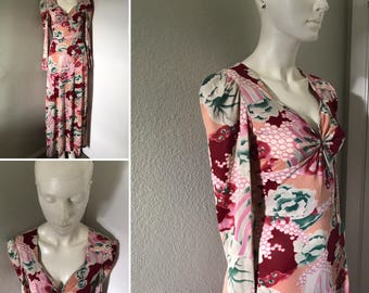 Vintage maxi dress nylon style dress tight fitting psychedelic print empire waist slinky Keyhole long gown hippie boho disco Nik Nik
