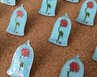 Beauty and the Beast Limited Editon Glitter Enchanted Rose Enamel pin
