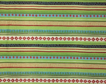 Kokka Fabric - Echino - Linen/Canvas - Green/Red Stripes - by the yard