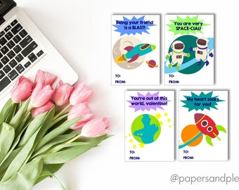 DIGITAL FILE - Printable Space Valentine's Day Cards for Kids Set of 7 (DIY) | Kids Valentine Cards | Valentine Party | Astronaut Valentine
