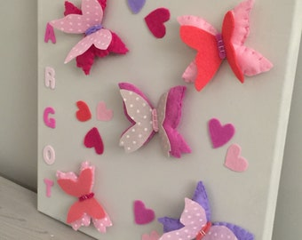 children's room, canvas wall butterflies, shades of pink and beige, personalized, birthday gift