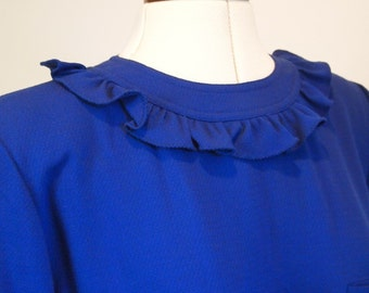 Vintage 80s designer Valentino Royal Blue wool dress with frilled collar and cuffs thigh high split with button closure size 12 14