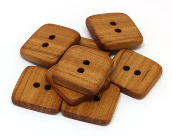 Wooden buttons. 8 Handcrafted applewood buttons. Square natural wood buttons. 0.8 inch / 22mm buttons. A7127