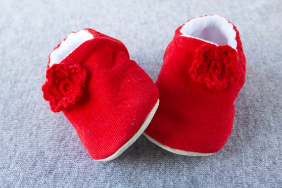 Red  soft corduroy pre walker & Toddler shoe with crochet flowers