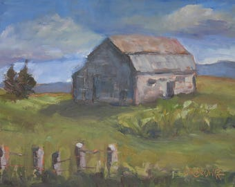 Original Landscape OIl Painting of Weathered Barn