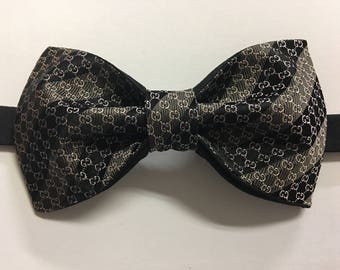 Handmade Mens Brown/Black  Upcycled Bow Tie Pre-tied Adjustable Strap,Repurposed High Fashion, Neckwear, Wedding , Gift for Him, Birthday