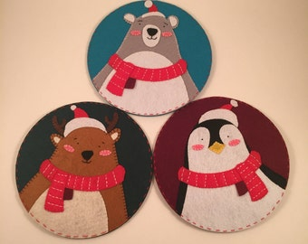 Christmas Series, Moose, Polar bear, Penguin, Drink Coasters, Placemats, Non Woven Fabric Cloth, 3 Pieces, Diameter 5.12 Inches / 13cm