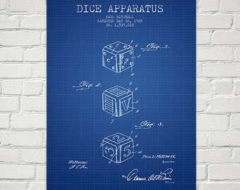 1925 Dice Apparatus Patent Wall Art Poster, Home Decor, Gift Idea