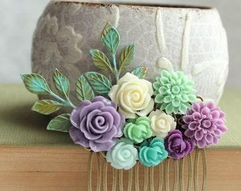 Purple Rose Comb Floral Collage Comb Bridal Hair Piece Fresh Green Chrysanthemum Mint Bridesmaids gift Spring Wedding Verdigris Branch Comb
