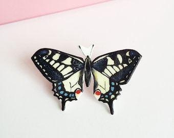 Swallowtail Butterfly Pin - Swallowtail Pin - Wildlife Pin - Shrink Plastic Pin - British Butterfly - Nature Lover Gift - Nature Pin