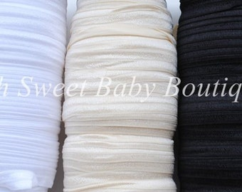 "WHOLESALE 5/8"" Fold Over Elastic 100 Yard Roll Color: Ivory"