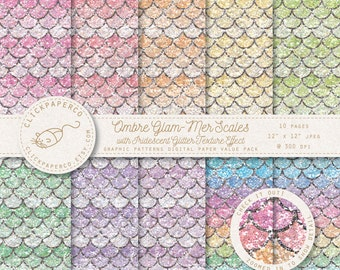 Rainbow Mermaid Digital Paper with Iridescent Glitter Effect Texture Ombre Scales Scrapbooking Invitations Cards Instant Download jpeg diy