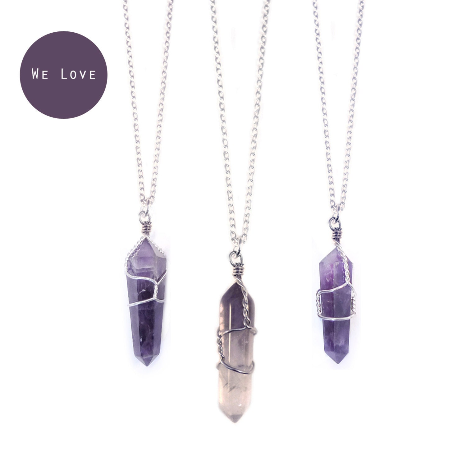 Tibetan amethyst healing crystal bullet necklace vintage zoom aloadofball Image collections