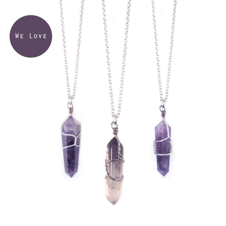 Tibetan amethyst healing crystal bullet necklace vintage zoom aloadofball Gallery