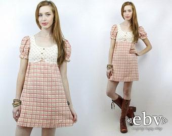 Babydoll Dress Dolly Dress Vintage 70s Pink Plaid Floral Puff Sleeve Mini Dress XS Lolita Dress Pink Dress Puff Sleeve Dress Hippie Dress