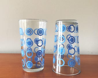 Vintage water tumblers with blue circles