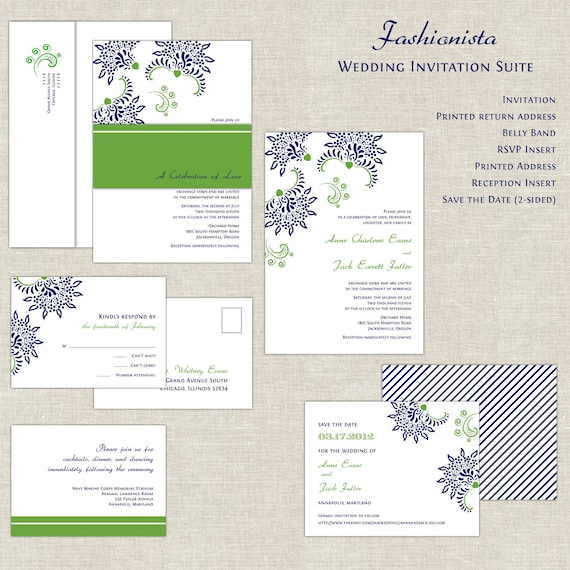 Navy Blue Wedding Invitations Modern: Items Similar To Navy & Green Wedding Invitations, Irish