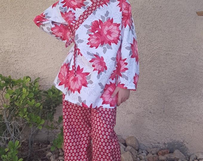 Girls Kimono Lounge Wear - Kimono Style - Festive Red Floral