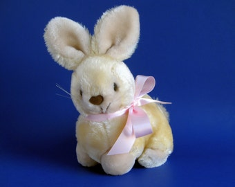 Vintage Bunny Rabbit Stuffed Animal by AMERICA WEGO Crouching Cream 1980s Toy Pink Ribbon Brown Flocked Nose Whiskers Plush