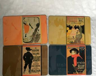 Moulin Rouge Placemats, Set of 4, Fine Art Placemats, Jane Avril, Le Volume De Bruant, Ambassadeurs, Vintage Art, Rectangle Placemats