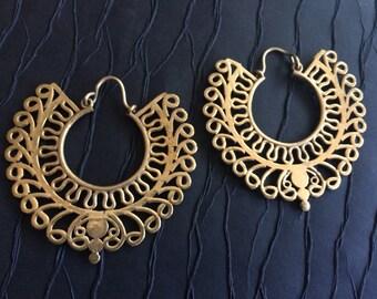 Gold Hoop earrings,Bohemian Jewelry,Phoenix hoops,BOHO EARRINGS,Tribal Brass earrings,Ethnic minimalistic, earring,jewelry burning man YH235