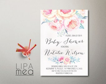 Floral Baby Shower Invitation Printable, Girl Baby Shower Invitation, Boho Baby Shower Invite, Bohemian Baby Shower invites summer